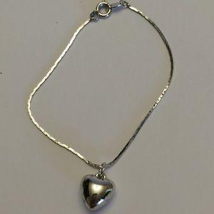 Vintage Silver Heart Bracelet